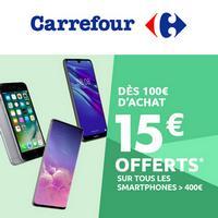 Carrefour : 15€ offerts par tranche de 100€ sur Les Smartphones