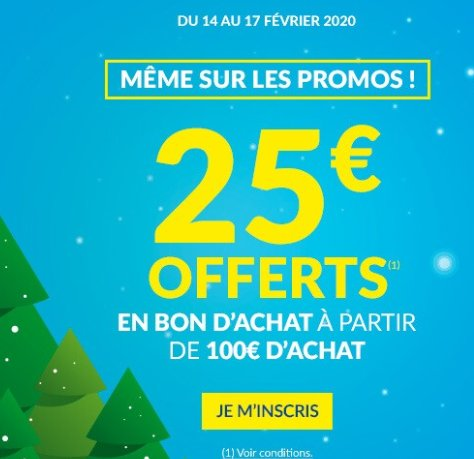 But : 25€ offerts en bons d'achats pour 100€ d'achats