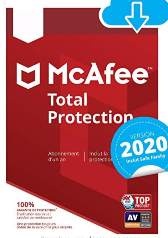 Antivirus McAfee Total Protection 10 appareils / 1 an pour 14.99€