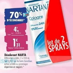Déodorant Narta chez Carrefour (10/03 – 23/03)