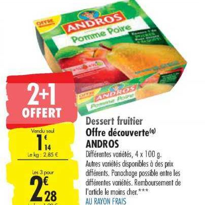 Desserts Fruitiers Andros chez Carrefour (17/03 – 30/03)