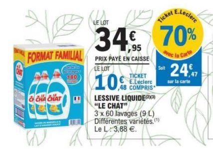 Lessive Liquide Le Chat chez Leclerc (17/03 – 28/03)