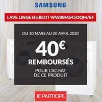 Offre de Remboursement Samsung : 40€ Remboursés sur Lave-Linge chez BUT