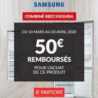 Offre de Remboursement Samsung : 50€ Remboursés sur Combi Réfrigérateur chez BUT