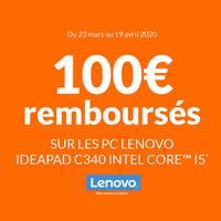 Offre de Remboursement Lenovo : 100€ Remboursés sur PC IDEAPAD C340 INTEL CORE™ i5