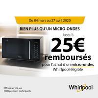Offre de Remboursement Whirlpool : Jusqu'à 25€ Remboursés sur Micro-Ondes
