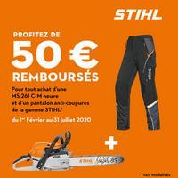 Offre de Remboursement STIHL : 50€ Remboursés sur Tronçonneuse + Pantalon