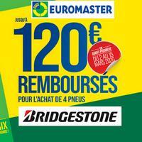 Offre de Remboursement Bridgestone : Jusqu'à 120€ sur les Pneus chez Euromaster