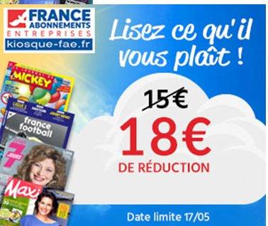 Kiosque France Abonnement : 18€ de remise sans minimum