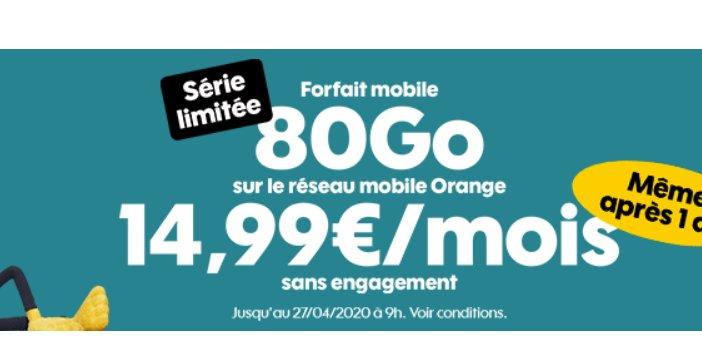 14.99€ par mois le Forfait Sosh Illimité 80Go en série limitée
