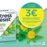 Offre de Remboursement Sanofi : 3€ Remboursés sur Stress Resist