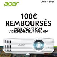 Offre de Remboursement Acer : 100€ Remboursés sur Vidéoprojecteur Full HD