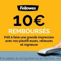 Offre de Remboursement Fellowes : 10€ Remboursés sur Plastifieuses, Relieuses et Rogneuse
