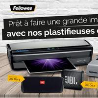 Bon Plan Fellowes : 1 Plastifieuse ou 1 Machine à Relier Achetée = 1 Enceinte JBL Offerte