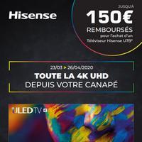 Offre de Remboursement Hisense : Jusqu'à 150€ Remboursés sur TV 4K UHD