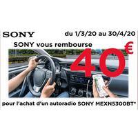 Offre de Remboursement Sony : 40€ Remboursés sur Autoradio