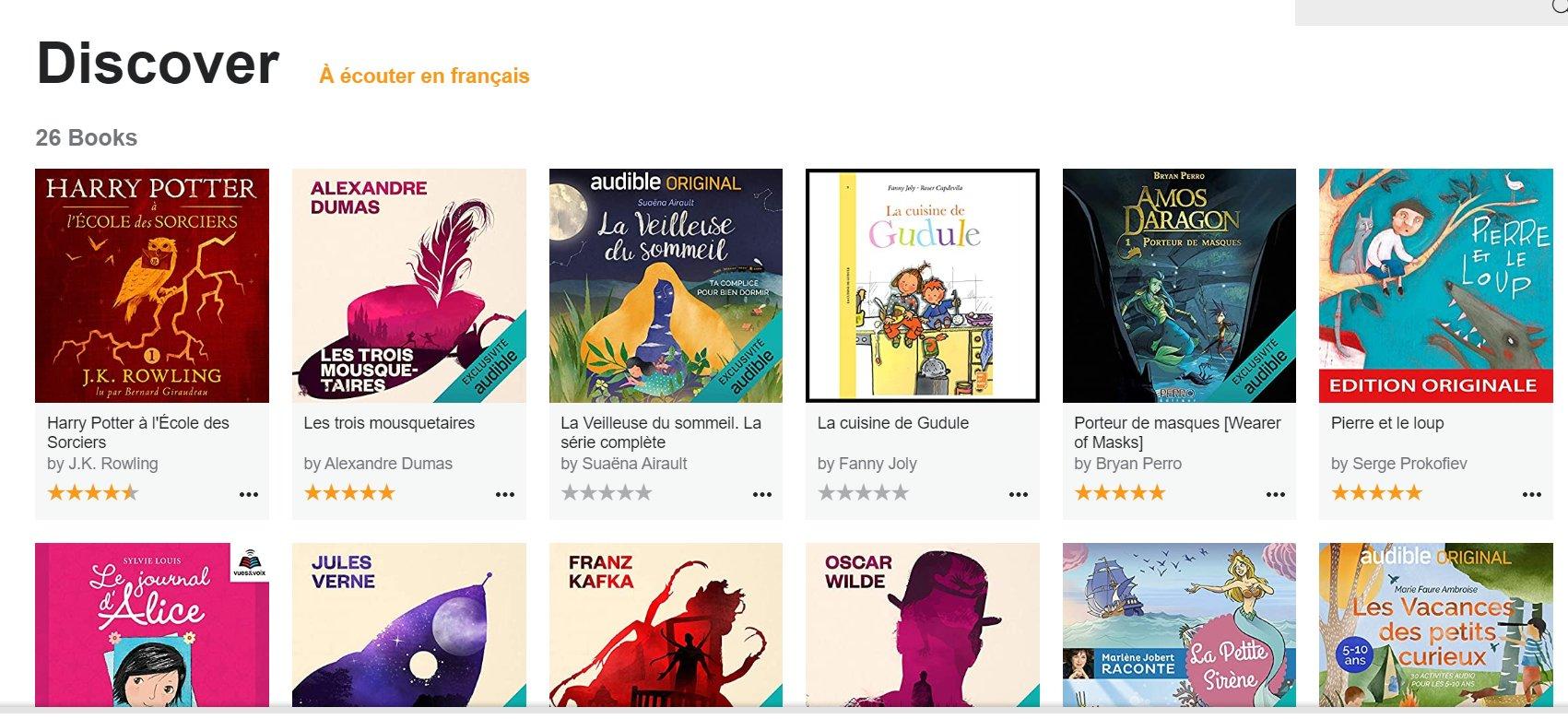 Plus de 20 livres enfants , ados  à écouter gratuitement avec Audible ( Harry Potter , Gudule ..)