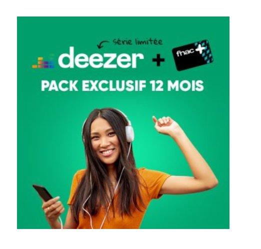 60€ la carte Fnac+ et Deezer pour 12 mois !