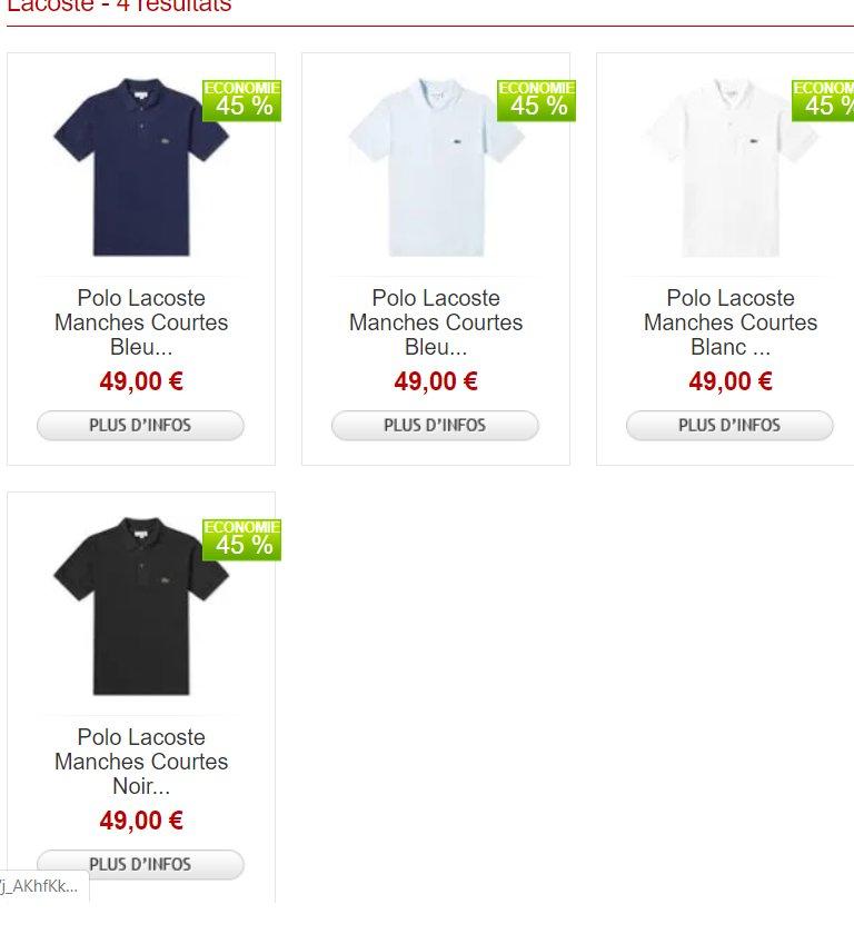 Polo Lacoste L 12 12 à 49.9€ (+3.99  de frais de livraison)