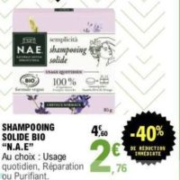 Shampoing Solide N.A.E. chez Leclerc (26/05 – 06/06)