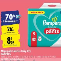 Couches Baby-Dry Pants Pampers chez Carrefour (25/05 – 08/06)