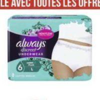 Culottes Discreet Always chez Géant Casino (01/06 – 14/06)