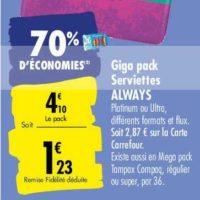 Serviettes Always Ultra chez Carrefour (25/05 – 08/06)