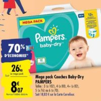 Couches Baby-Dry Pampers chez Carrefour (25/05 – 08/06)