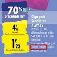 Tampons Compak Tampax chez Carrefour (25/05 – 08/06)