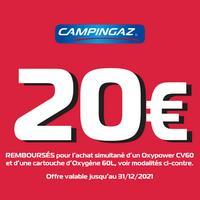 Offre de Remboursement Campingaz : 20€ Remboursés sur 1 Oxypower CV 60 + 1 Cartouche d'Oxygène 60L