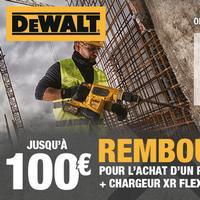 Offre de Remboursement DeWalt : Jusqu'à 100€ Remboursés sur Batterie + Chargeur