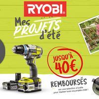Offre de Remboursement Ryobi : Jusqu'à 40€ Remboursés sur Outil