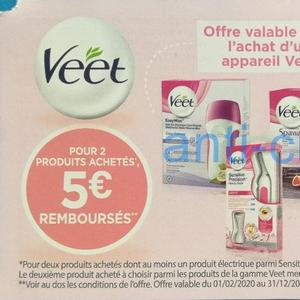 Offre de Remboursement Veet : 5€ Remboursés pour 2 produits