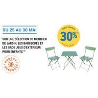 Leclerc : 30% en Tickets Leclerc sur Mobilier Jardin, Barbecues et Gros Jeux Enfants