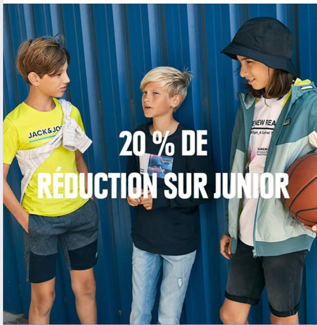 Jack Jones : 20% de réduction sur une sélection d'articles Junior