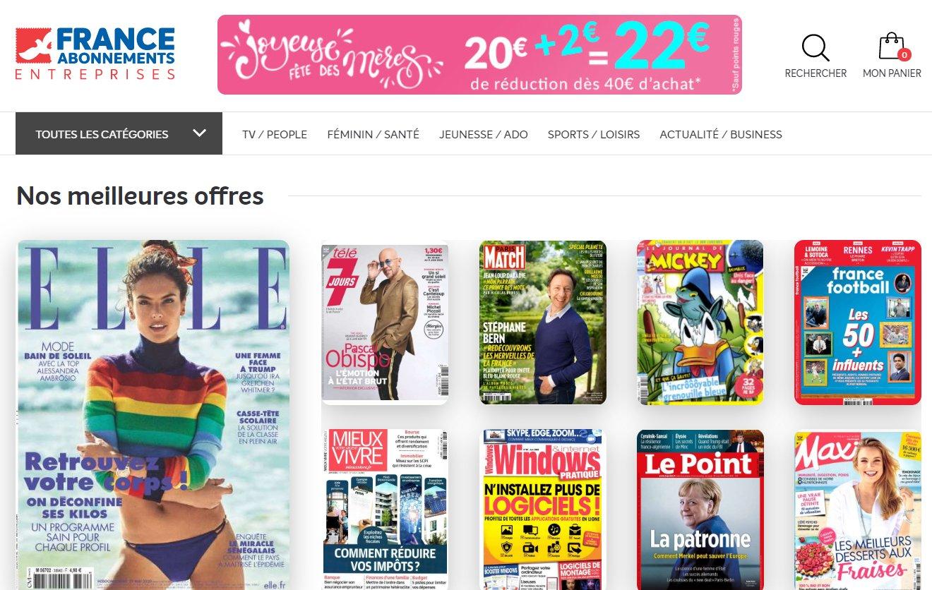 Kiosque FAE ( France Abonnement ) : 22€ de réduction sur les abonnements