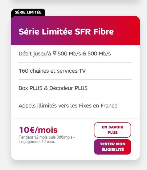 Box SFR  ADSL ou Fibre en serie limitée à 10€ / mois durant 12 mois ( 38€ apres)