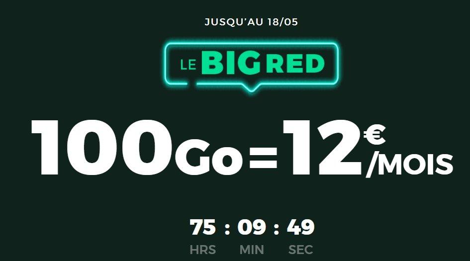 12€ par mois le forfait mobile SFR RED ILLIMITE avec 100Go d'internet