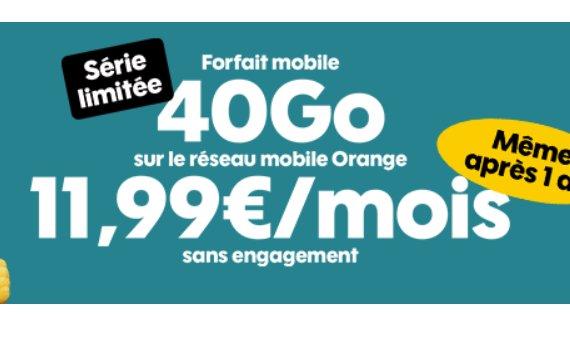 11.99€ par mois le Forfait Sosh Illimité 40Go en série limitée / 14.99€ celui avec 80Go