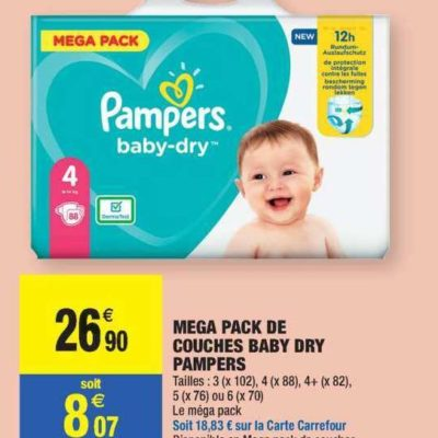 Couches Baby-Dry Pampers chez Carrefour Market (09/06  – 21/06)