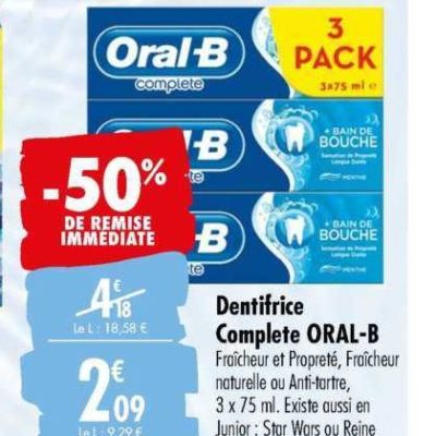 Dentifrice Oral-B chez Carrefour (23/06 – 06/07)