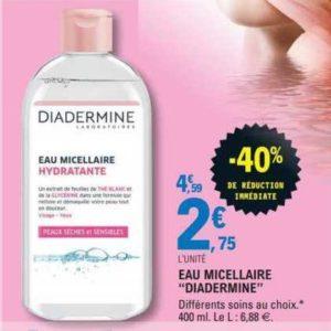 Eau micellaire Diadermine chez Leclerc Centre-Est (16/06 – 27/06)