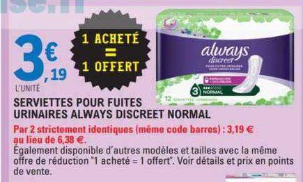 Serviettes Discreet Always chez Leclerc Centre-Est (16/06 – 27/06)