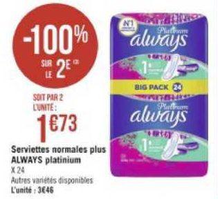 Serviettes Always Platinum chez Géant Casino (29/060 – 12/07)