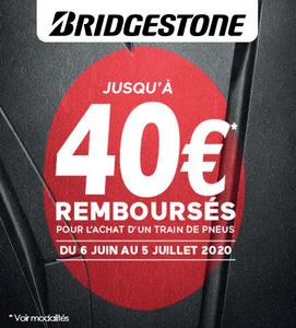 Offre de Remboursement Bridgestone : Jusqu'à 40€ sur les Pneus