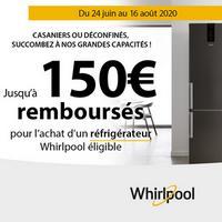 Offre de Remboursement Whirlpool : Jusqu'à 150€ Remboursés sur Réfrigérateur