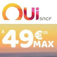 Oui.SNCF : 3 millions de billets à 49€ maximum pour cet été