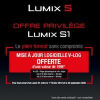 Bon Plan Panasonic : 1 Appareil Lumix S1 Acheté = 1 Mise à Jour logicielle V-LOG Offerte