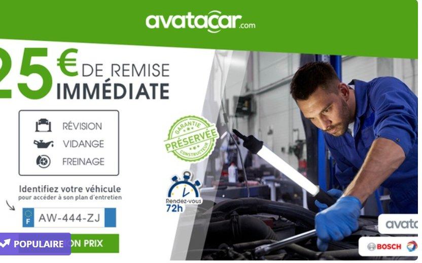 25€ de réduction chez AVATACAR (entretien Auto)