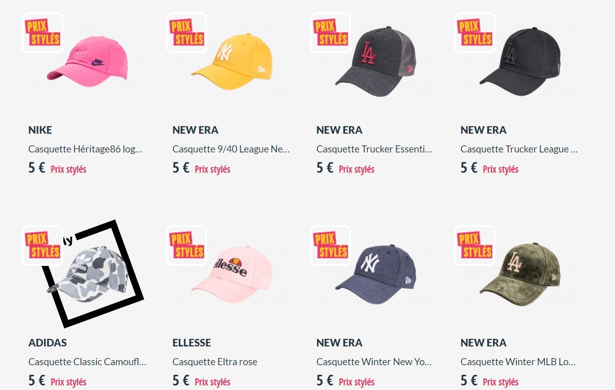 5€ port inclus des casquettes New Era , Fila , Adidas …